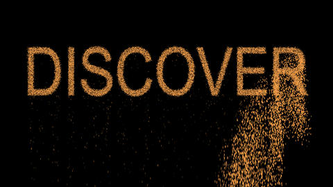 text DISCOVER appears from the sand, then crumbles. Alpha channel Premultiplied Animation