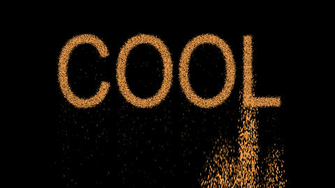text COOL appears from the sand, then crumbles. Alpha channel Premultiplied - Animation