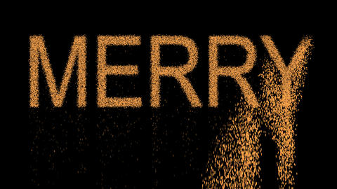 text MERRY appears from the sand, then crumbles. Alpha channel Premultiplied - Animation