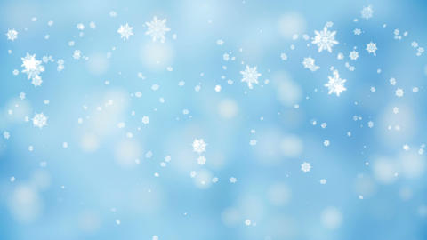 Snow falling over beautiful soft blue background with blinking blurred lights, Animation