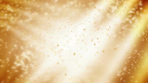 Stars falling over beautiful soft golden background with blurred lights Animation
