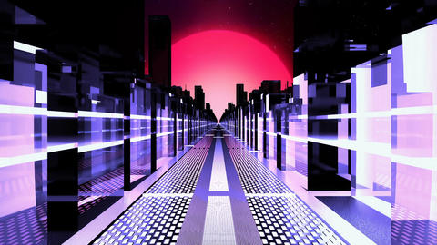 Flying in a sci-fi city of the future with neon skyscrapers. Looped CG動画素材