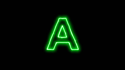 Neon flickering green latin letter A in the haze. Alpha channel Premultiplied - Animation
