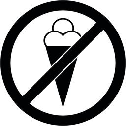 No ice cream, food, eat prohibited symbol. Vector ベクター