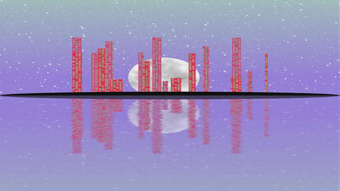 Island with shinning modern town within full Moon night. Lighting skyscrapers in Footage