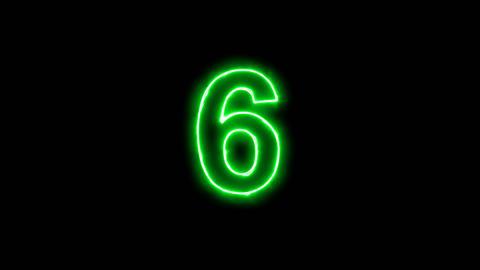Neon flickering green arabic numerals 6 in the haze. Alpha channel Premultiplied Animation