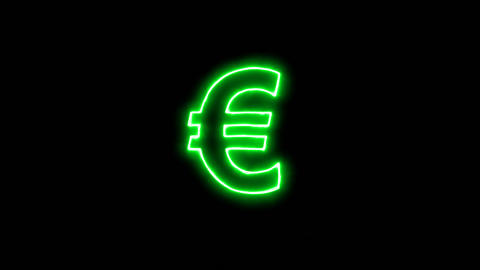 Neon flickering green Euro Sign in the haze. Alpha channel Premultiplied - Animation
