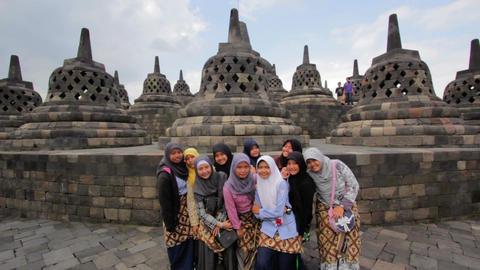 BOROBUDUR - MAY 2012: indonesian students visiting... Stock Video Footage