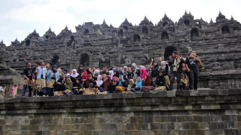 BOROBUDUR - MAY 2012: indonesian students visiting... Stock Video Footage
