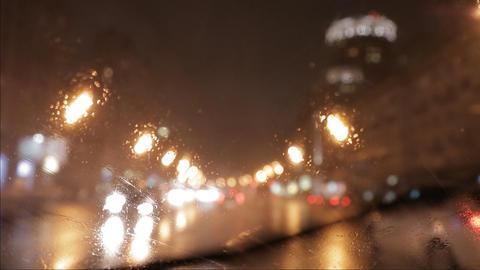 car window rain night background defocused in motion Stock Video Footage