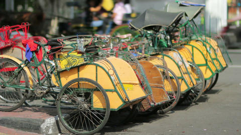 transportation with cyclo in indonesia Footage