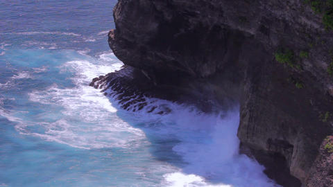 crushing waves from high angle Stock Video Footage