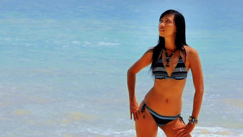 sexy perfect body at beach Stock Video Footage