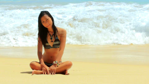 Sexy Asian Girl at Exotic Beach Stock Video Footage