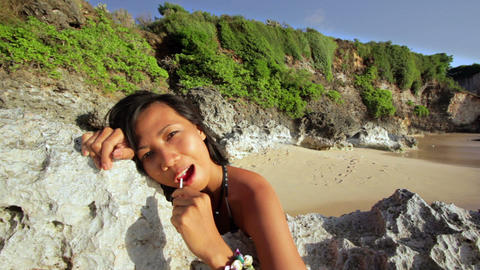 seductive naughty girl at beach Stock Video Footage