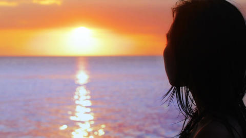 silhouette girl is watching sunset Stock Video Footage