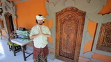 caucasian man in balinese clothes Footage