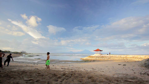 BALI - MAY 2012: parkour at the beach Stock Video Footage