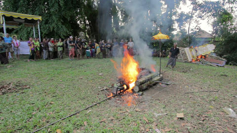 BALI - MAY 2012: burning dead body in balinese funeral Stock Video Footage