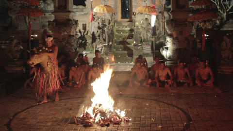 BALI - MAY 2012: kecak dance performance on stage Stock Video Footage