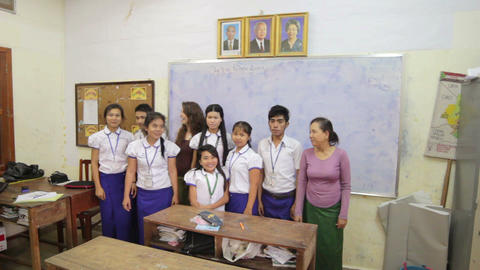 PHNOM PENH - JUNE 2012: students in NGO orphanage school Footage