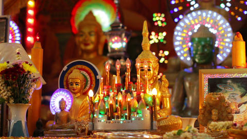 Buddha statues in temple Stock Video Footage