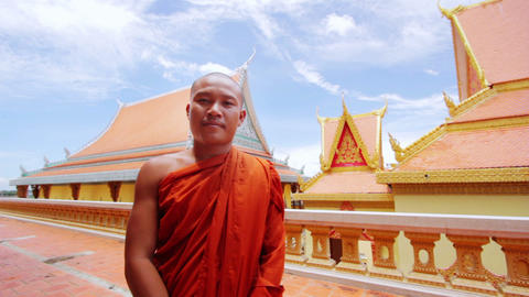 buddhist monk in temple Stock Video Footage