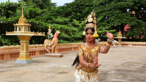 Apsara Dancer Performance in Temple Stock Video Footage
