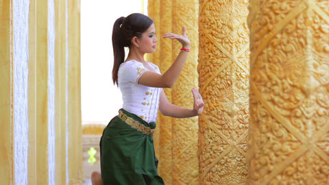 Asian Folk Dance in Temple Footage