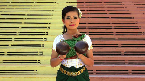 Coconut Dancer Performance in Temple Stock Video Footage