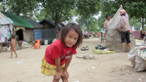 Kids in cambodian slums Stock Video Footage