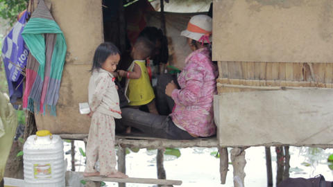 Cambodian family in slum Footage