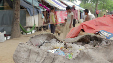 Slums in cambodia, kids playing Stock Video Footage