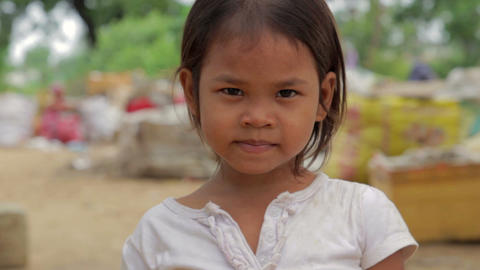 Cambodian girl in slums Stock Video Footage