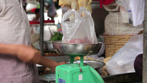 mesuring weight of meats Stock Video Footage