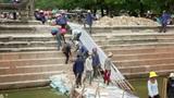 ANGKOR WAT - JUNE 2012: builders makes renovation Footage