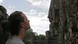 caucasian tourist in angkor wat Footage