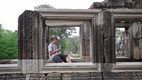 caucasian tourist in angkor wat Footage