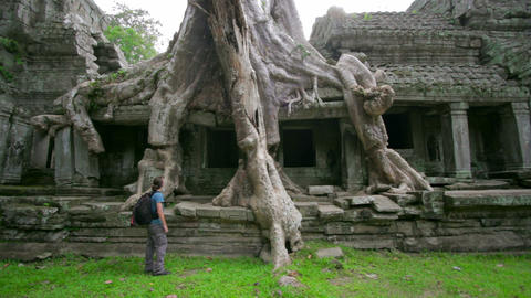 Backpacker travels exotic places Stock Video Footage