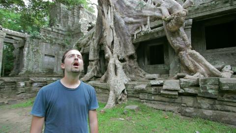 Tourist surprise in bizarre nature Stock Video Footage