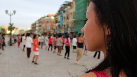Girl watching tai chi sports Stock Video Footage