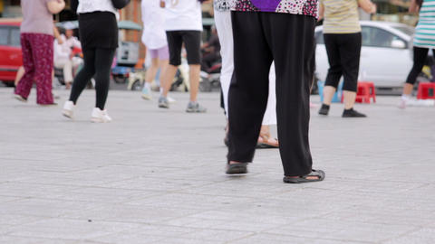 outdoor tai chi in city center Stock Video Footage
