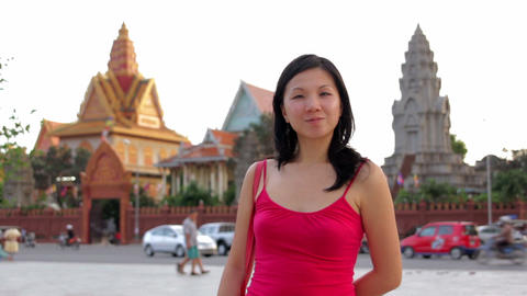 chinese Business woman outside office Stock Video Footage