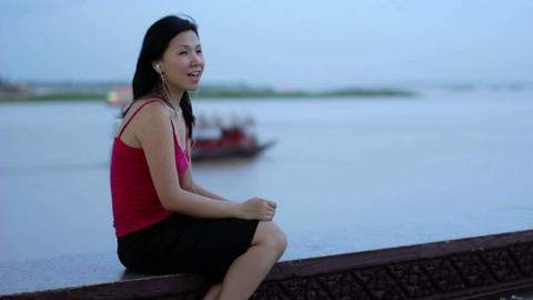 chinese business woman listening music Footage