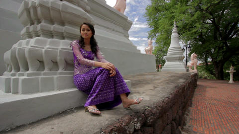 Asian Girl with Traditional Clothes Stock Video Footage