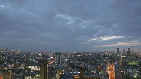 Elevated timelapse of sunset skies over Ikebukuro, Tokyo Footage