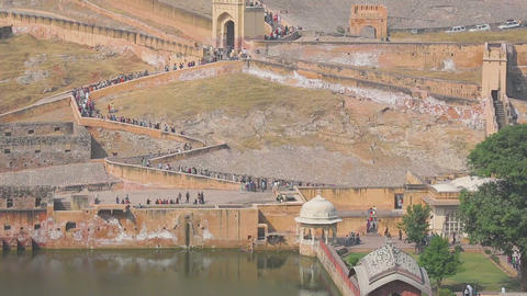 Tourists in Amber fort Footage