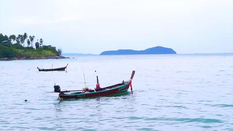 Fishing Boat off the Coast of Phuket Ocean Thailand Footage