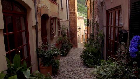 Romantic small spanish village with Mallorca style brick... Stock Video Footage