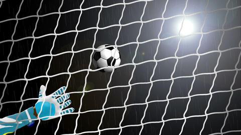 Football tears through the goal net Animation